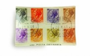 Rosanna European Souvenir Italian Stamp Large Rectangular Tray