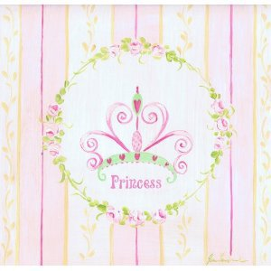 The Kids Room Princess with Pink and Yellow Stripes Square Wall Plaque