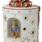 Villeroy & Boch Christmas Toys 9-1/4-Inch Large Round Musical Gift Box, White with Red Ribbon