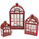 Melrose International Iron and Glass Dome Lantern, Red, Set of 3
