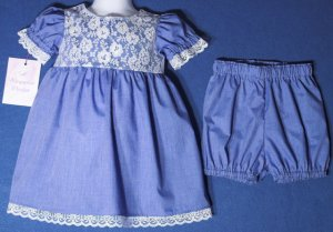 Blue Chambray Dress Set / Diaper Cover, 0-3 Months