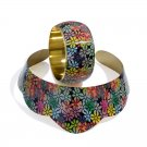 Multi Colour Floral Printed Collar Necklace and Bangle