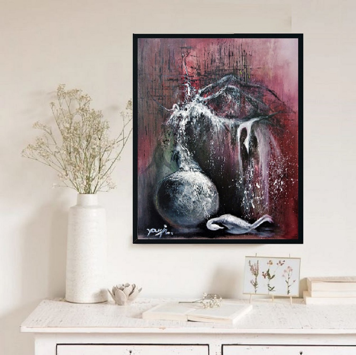 Abstract meditation painting Nocturnal birds