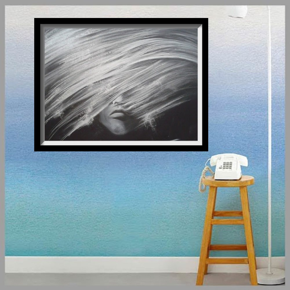 Pastel drawing Black and white night bird05