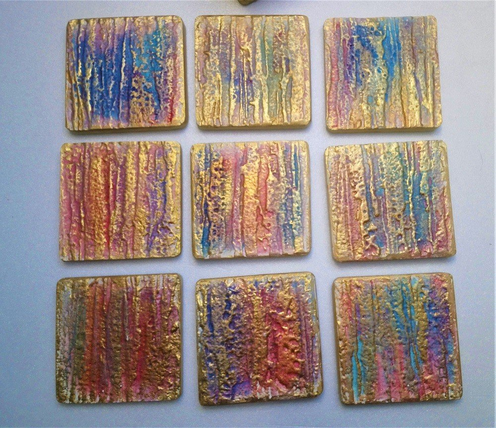 Plaster coaster for wedding event -B set of 4 pieces