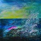 Acrylique painting Ocean-Bleu