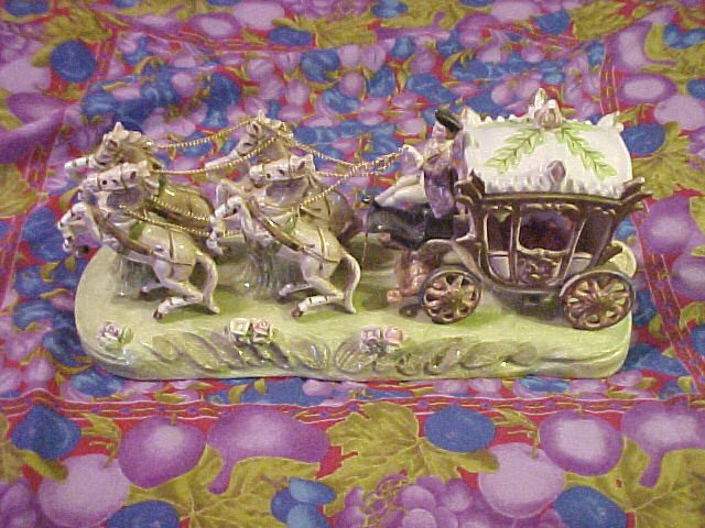 """Nippon Porcelain Figural Horse & Carriage - 14"""""""