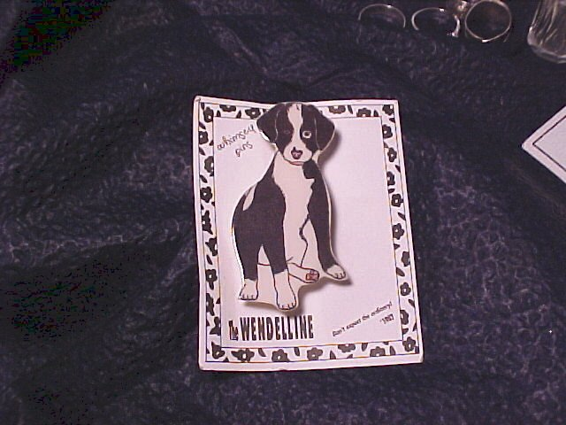 Black & White Puppy Dog Pin by Wendelline's Whimsy FREE Ship