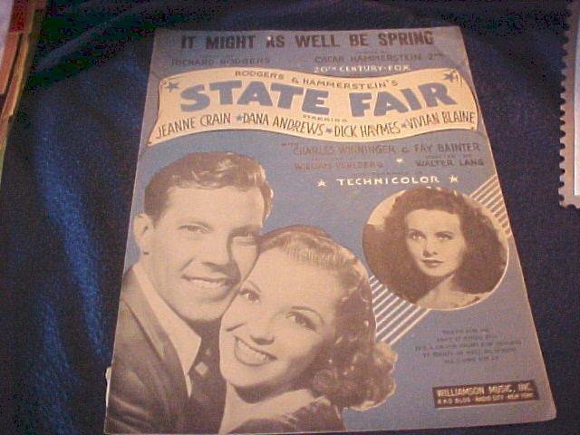 1945 Sheet Music State Fair Rodgers & Hammerstein Movie Star