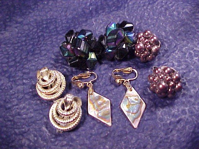 Lisner + Japan Bead MOP 4 Pair Clip Earrings ~ Vintage