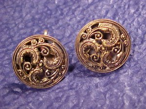 Antique Fleur De Lis & Mirrored Button Earrings ~ 2 Pair
