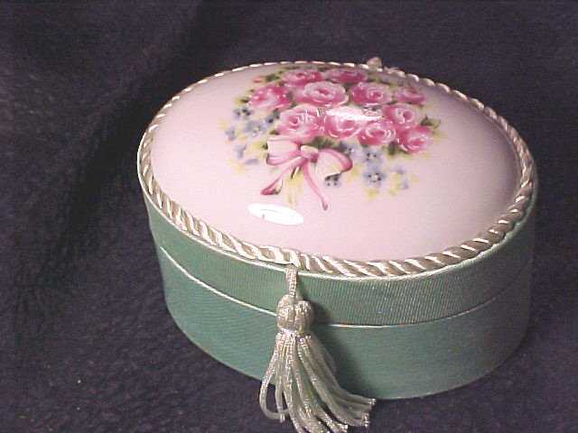 Porcelain & Satin Rose Topped Elegant Box
