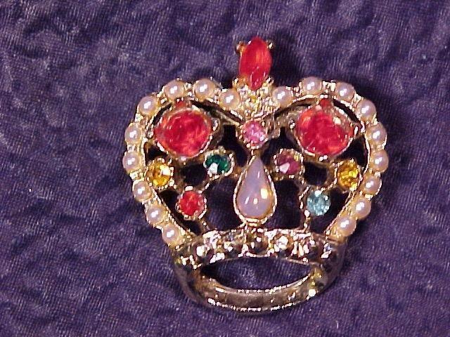 Faux Opal  & Rhinestone Vtg Crown Pin