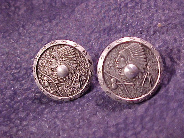 Vintage Indian Chief Screwpost Earrings