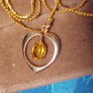 Beautiful Yellow Topaz Gold Filled Heart Pendant