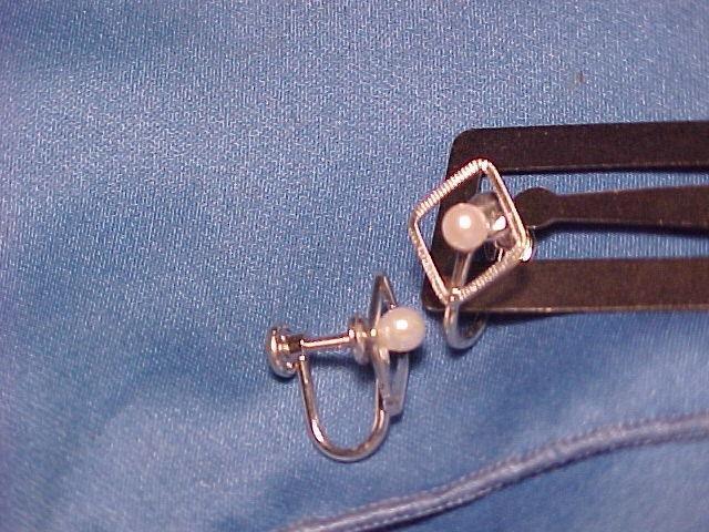 Van Dell Faux Pearl Screwpost Earrings