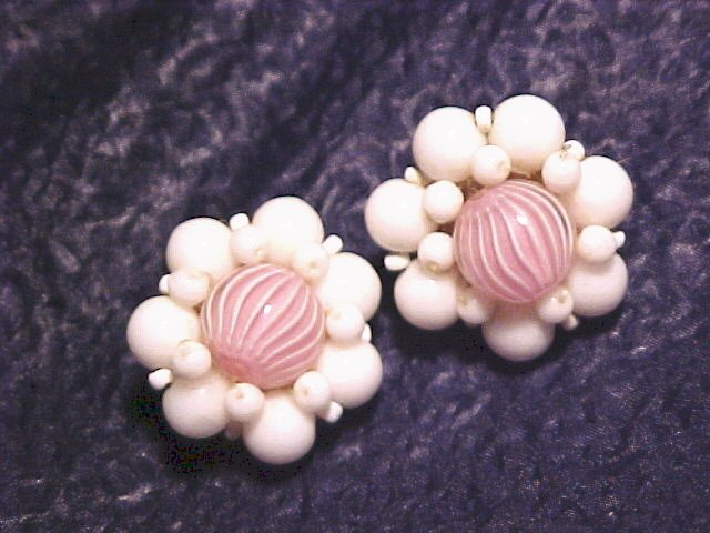 Germany Pink Candy Swirl Glass Bead Clip Earrings