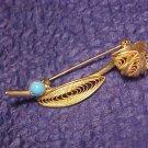 Vintage Turquoise BLue Glass Drop Nouveau Pin