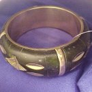 Brass & Deep Green Wide Bangle Bracelet