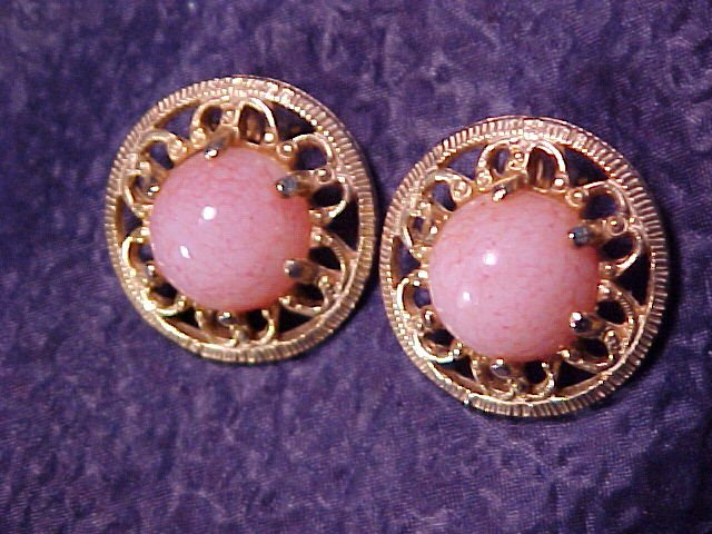 Pink Cotton Candy Lucite Swirl Clip Earrings