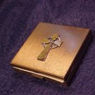Vtg Ladies Vanity Powder Compact Cross Top