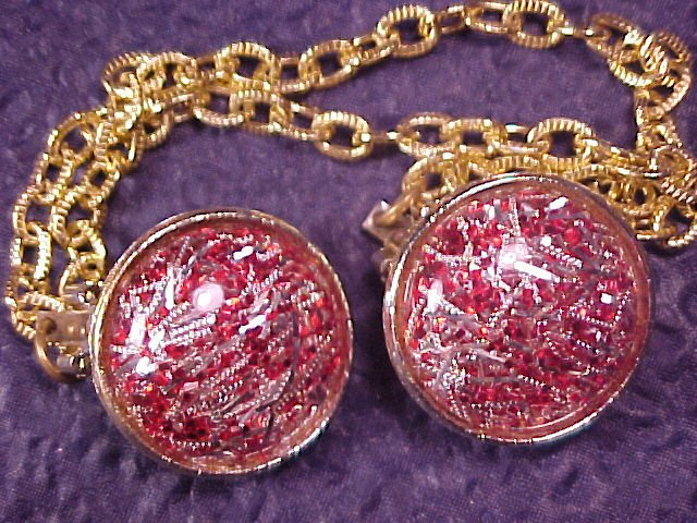 Red & Silver Vintage Mica Confetti Lucite Sweater Guard Clips - FREE SHIP!