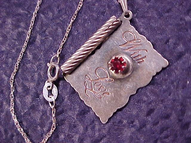 Sterling Silver With Love Rhinestone Necklace ~ Free Shipping All Items!