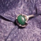 Green Malachite & Sterling Silver Ring US 7.5 Free Shipping All Items!