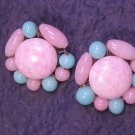 Antique Glass Bead Cluster Clip Earrings ~ Free Shipping!