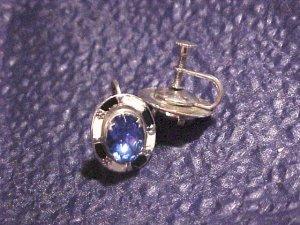 Blue Crystal Art Deco Antique Earrings