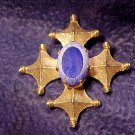 Blue Glass Maltese Cross Vintage Costume Pin
