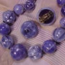 West Germany Blue Crackle Bead Beaded Demi Necklace & Clip Earrings