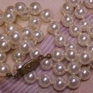 "24"" Faux Pearl Costume Necklace 6mm Knotted Beads Vtg Costume ~ Free Shipping"