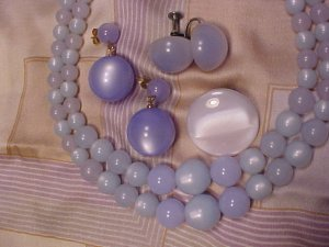 Blue Frost Moonglow Bead Vtg Demi Necklace 3 Pair Earrings