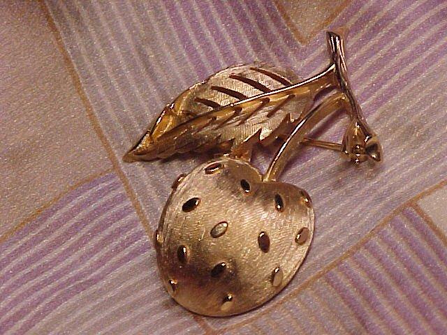 Crown Trifari Cherry Fruit Pin Vtg Costume Jewelry