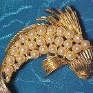 Faux Pearl & Rhinestone Flying Fish Pin ~ Vintage