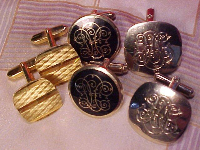 Vtg Costume Jewelry Men's 3 Pair Cuff Links Cufflinks - Free shipping