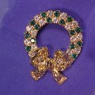 Christmas Holiday Pin Sparkling Green Rhinestone Wreath ~ Free shipping!