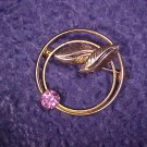 Vintage Costume Jewelry Pink Rhinestone Scarf Ring PIN ~ free shipping