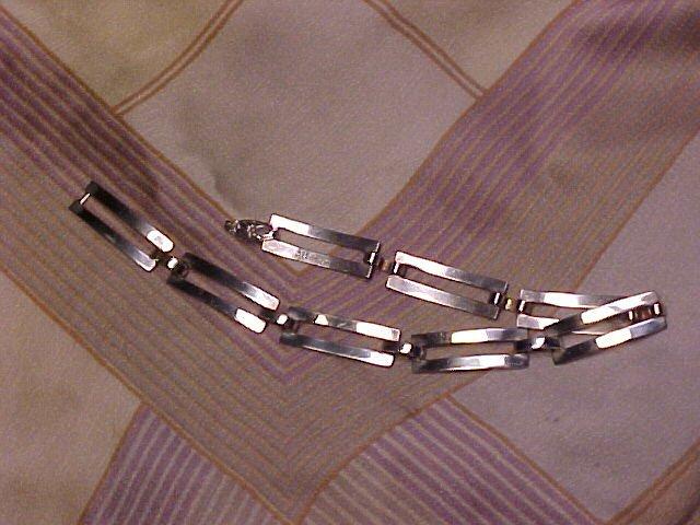Sterling Silver Link Bracelet Vintage Modernist