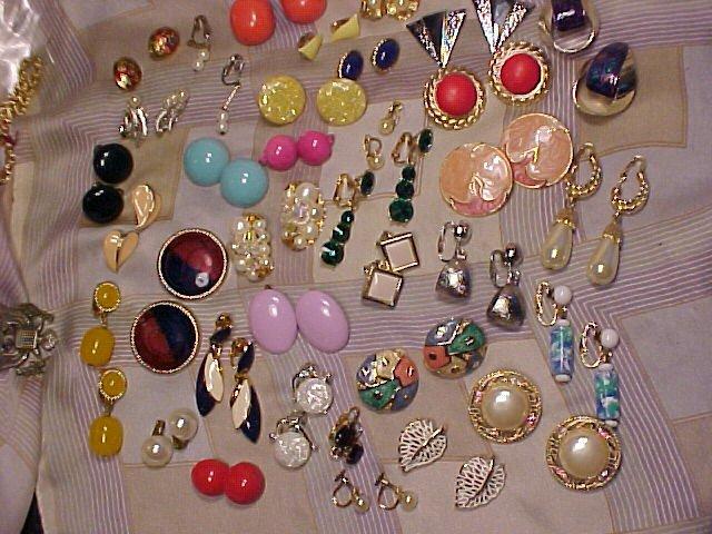 34 Pair Rhinestone Lucite Costume Clip Earring Lot