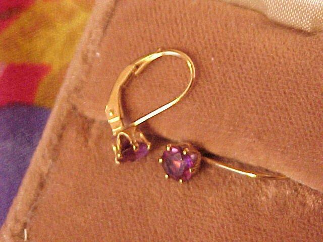 Sterling Silver Amethyst Earrings Pierced Gold Wash