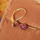 Sterling Silver Amethyst Earrings Pierced Gold Wash