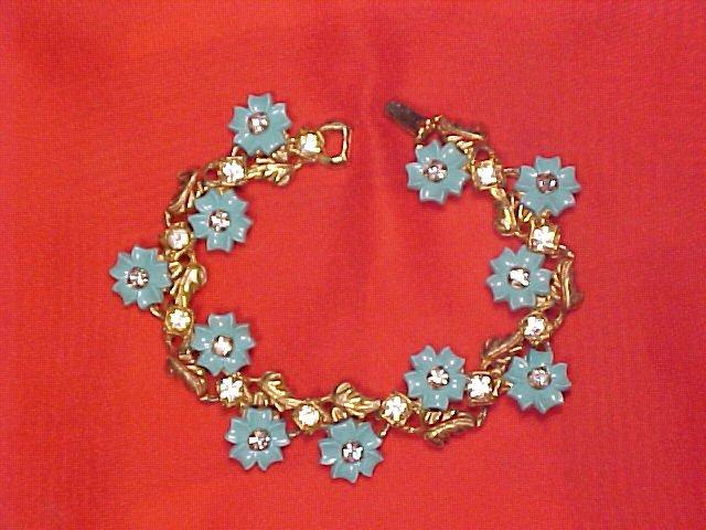 Thermoset & Rhinestone Vtg Flower Bracelet ~ free shipping