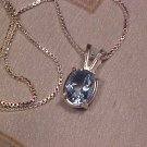 "Blue Topaz Pendant Sterling 18"" Silver Italy Box Chain"