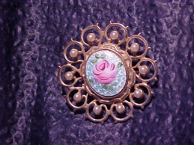 Lovely Guilloche Enamel Rose & Faux Pearl Pin