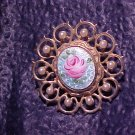Lovely Guilloche Enamel Rose & Faux Pearl Pin