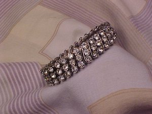 Vintage Trio Rhinestone Band Evening Bracelet