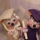 1965 Annalee Mobilitee Mouse Mice Graduate Dolls