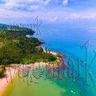 Digital Photo Wallpaper Background Screensaver Desktop-Tropical beach with boats, surfers